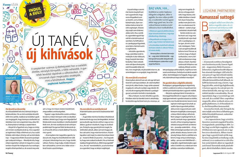 Rédei Zsuzsanna szakértő a Fanny magazinban