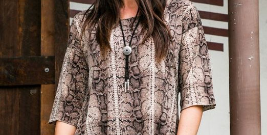 Brown Snake 3/4 Tunic Top