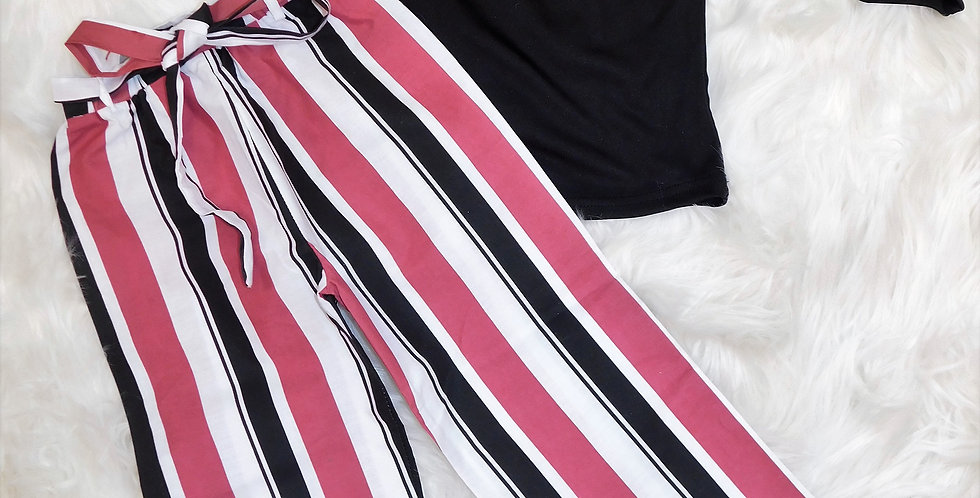 Black Shirt W/ Nude and Black Stripped Pants 2pc