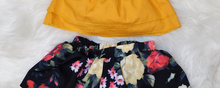 Mustard Crop Top and Blk Skirt