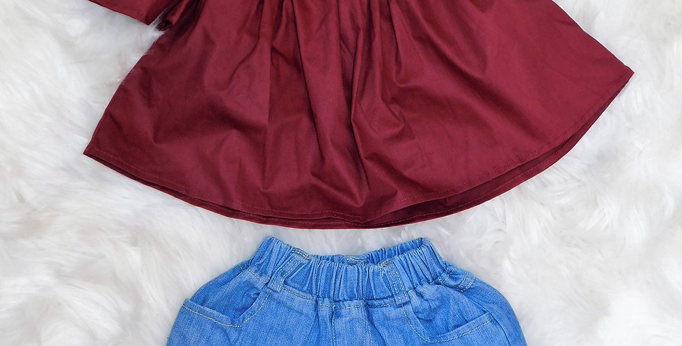 Maroon Off Shoulder W/ Light Shorts and Bow