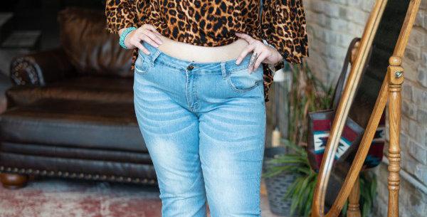 Flare Leg Jean Light Wash Plus Size