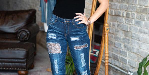 Midwash Leopard Sequin Boyfriend Jeans