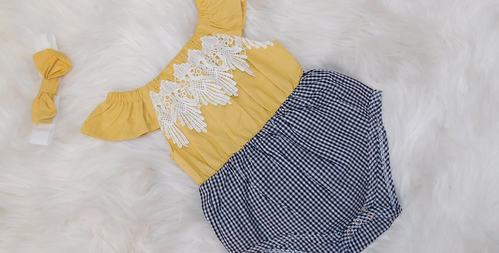 Yellow Plaid Bby Romper