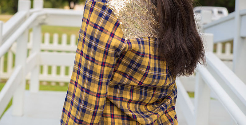 Bonfire Ready Yellow Plaid Button Up