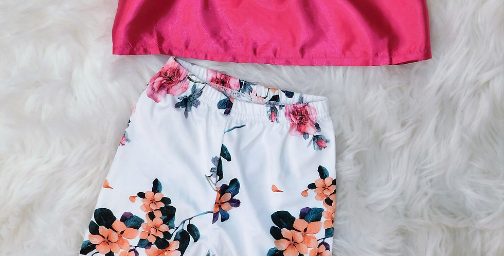 Pink off shoulder top and white floral bell bottom