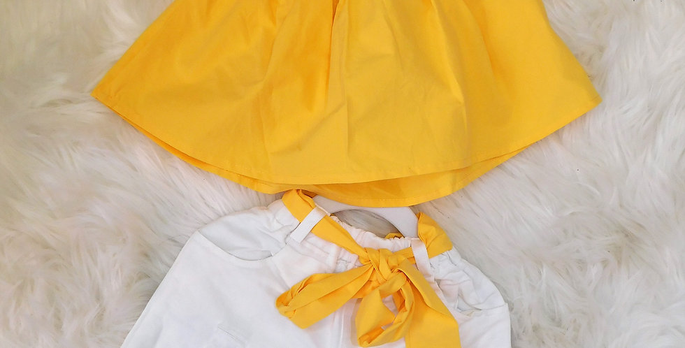Yellow Off Shoulder Top W/ White Shorts