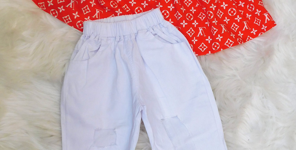 Red LV off shoulder W/ White Ripped Jeans