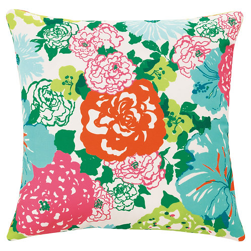 Heritage Floral Indoor/Outdoor Pillow - QR-15650.AQUAORANG.0