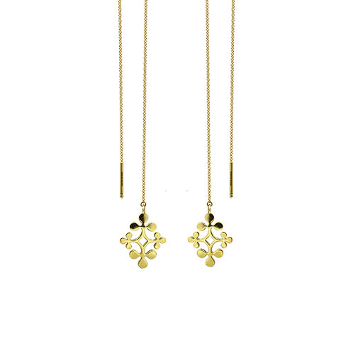 Yellow Gold Signature Chain Earrings