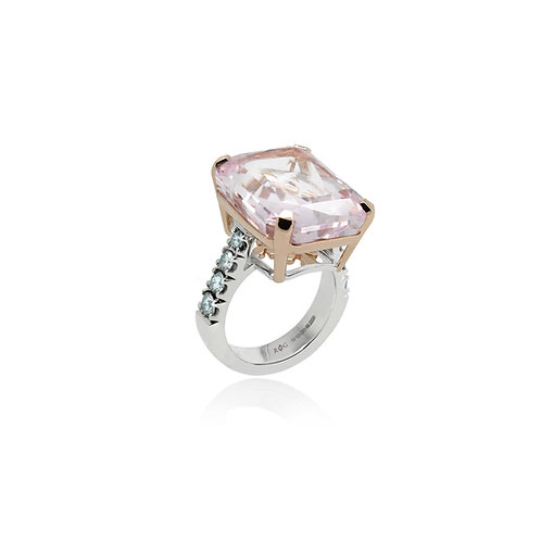 Morganite and Blue Diamond Cocktail Ring