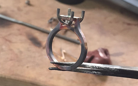 Bespoke fine jewellery ring manufacturing on the bench