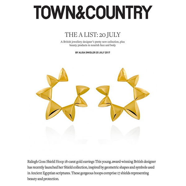 Raliegh Goss shield collecton hoops featured in Town & Country