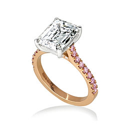 Emerald cut diamond ring with pink diamonds