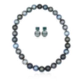 Tahitian and tormaline pearls fine jewellery set