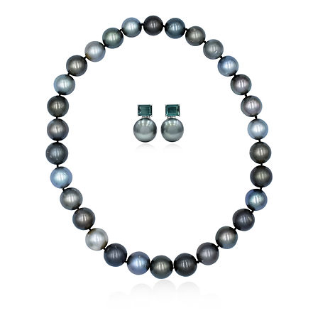 Tahitian and tormaline pearls fine jewellery set