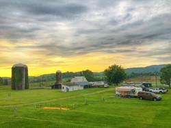 campground yellow sunrise