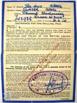 מסמך על קבלת אות הלגיון הבריטי