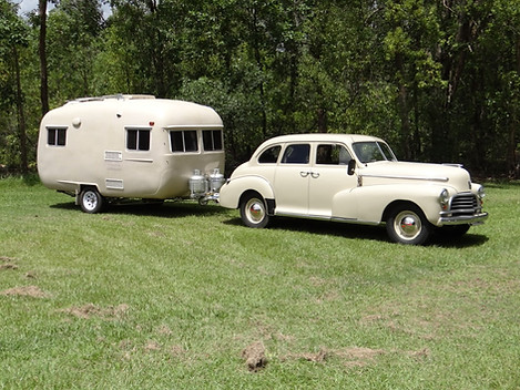 1946 sedan with contemporary caravan