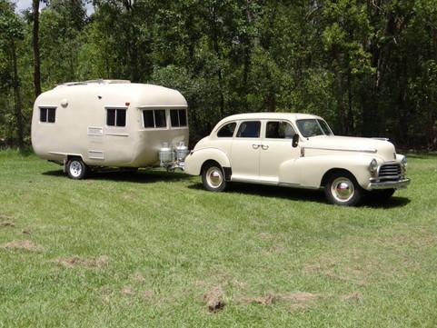 1946 sedan with contemporary caravan