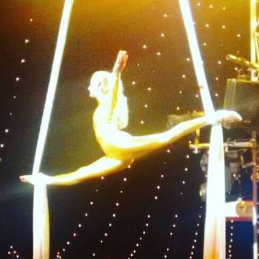 Katie Hardwick Splits Balance in Aerial Silks in London