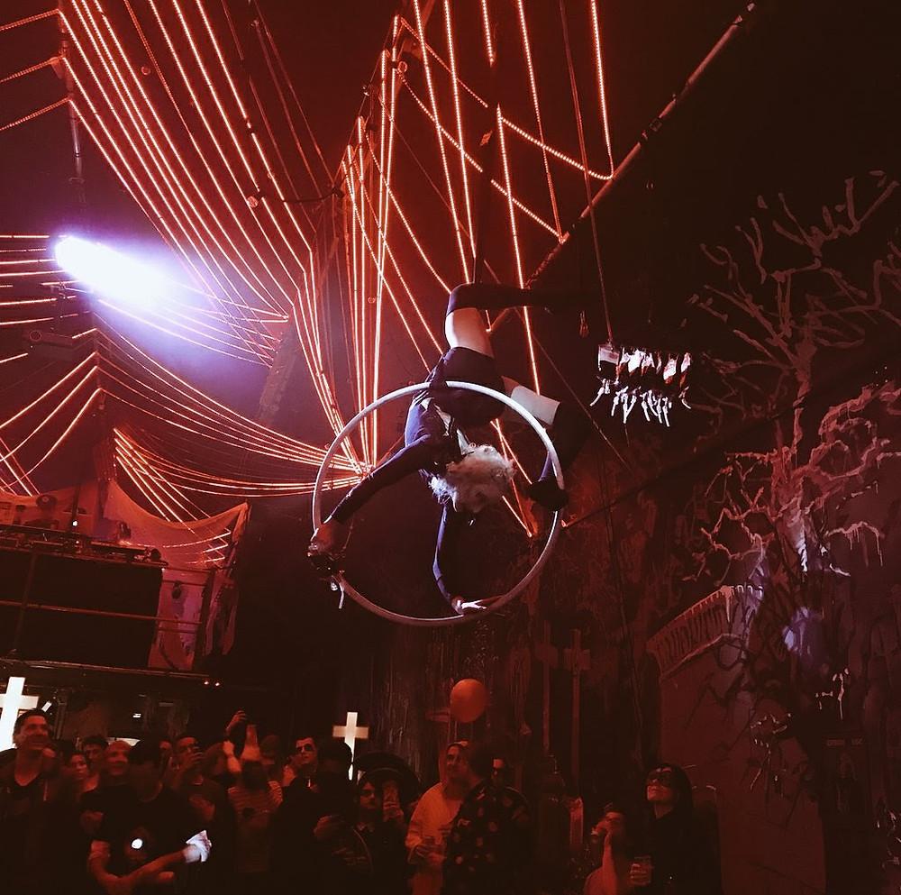 Aerial Hoop performance in The Vaults Waterloo by Katie Hardwick