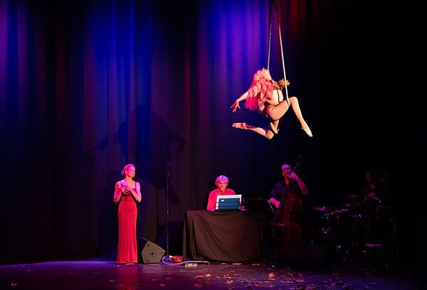 Autumn Leaves dance trapeze act with live band