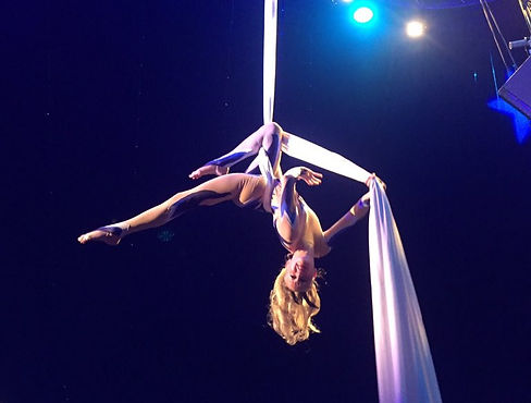 Cirque Silks Act in Blue and Flesh Costume