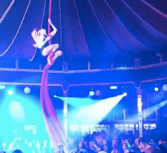 Katie Hardwick solo silks in Le Haggis Dumfries Spiegeltent cabaret