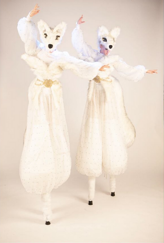 Snow Foxes on Stilts