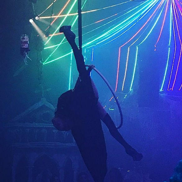 Katie Hardwick as an aerial bat on hoop for Halloween at The Vaults in Waterloo