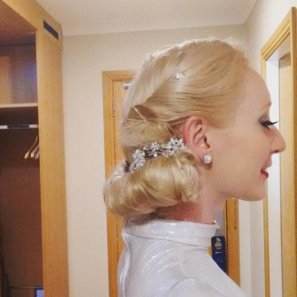 Katie Hardwick wedding performer hairstyle