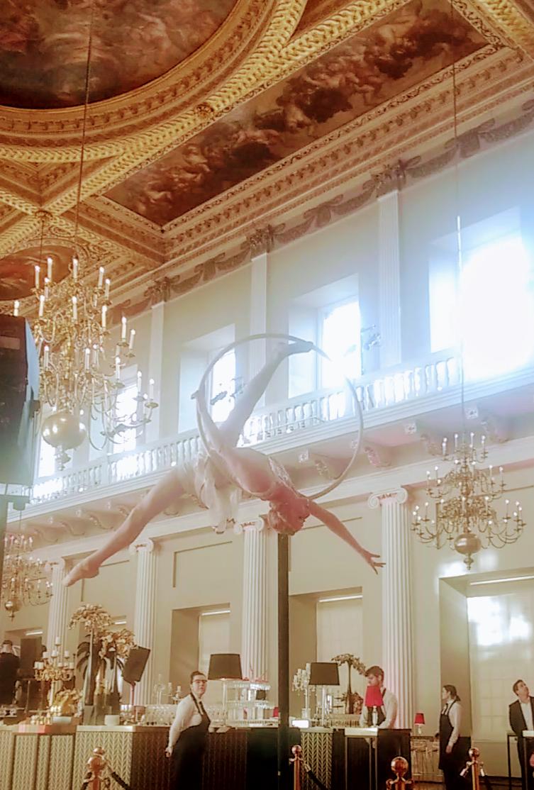 Katie Hardwick performing aerial hoop at Banqueting House