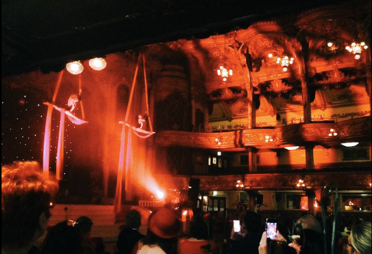 Starfiz Moulin Rouge silks act at Showzam Valentines Carnival Ball 2015 Blackpool Tower Ballroom
