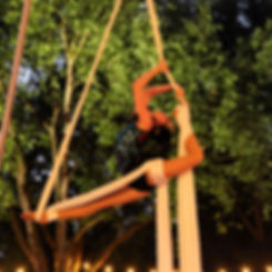 Katie Hardwick performing Aerial Silks as a bird at London Zoo Lates photographed by Matt Hurry