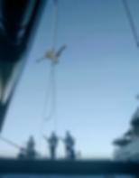 Katie Hardwick performing aerial rope aboard