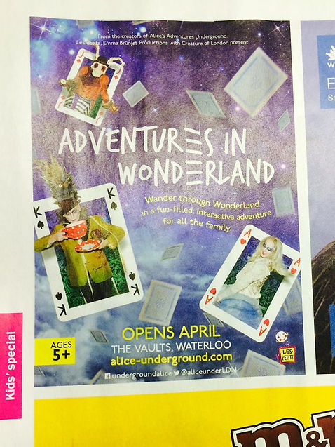 Katie Hardwick playing Alice for the Adventures in Wonderland press material