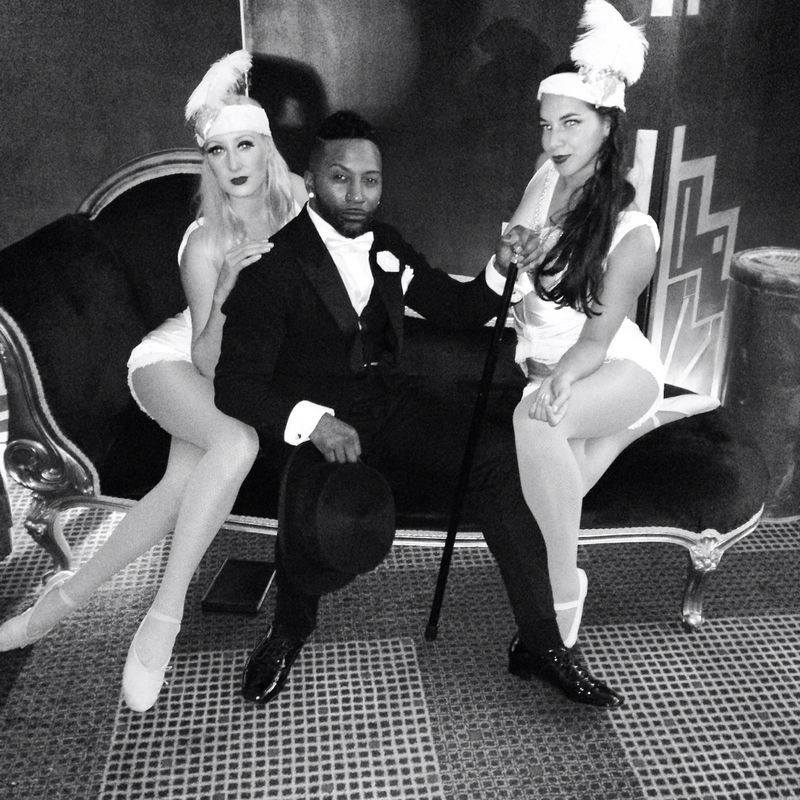 Starfiz flappers posing with dancer Joseph Hall