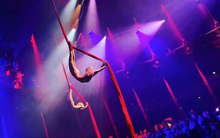 Aerial Silks performance at The Roundhouse Camden.