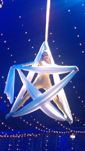 Katie Hardwick Christmas Star shape on Aerial Silks