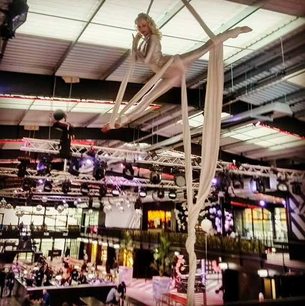 Katie Hardwick provided silks and hoop aerialists for the opening of Boxpark Wembley
