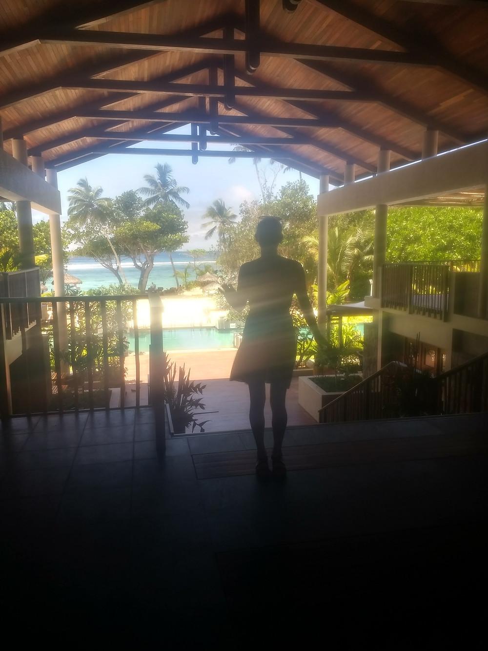 Katie Hardwick silhouette in the Seychelles