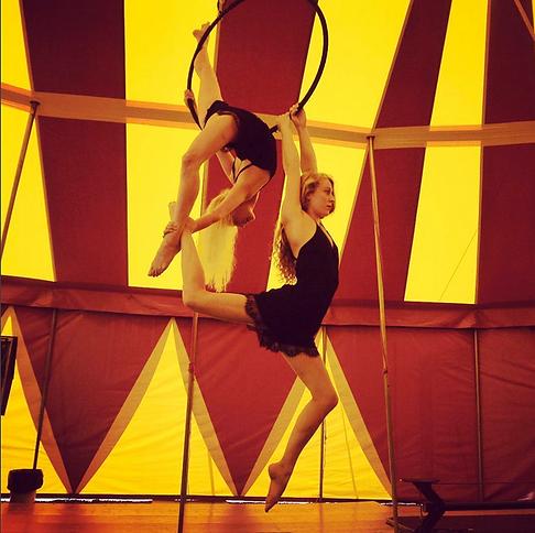 Aerial sisters Maddy and Katie Hardwick on hoop
