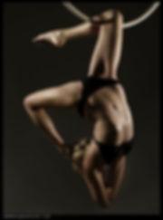 Flexibile fitness model on aerial hoop