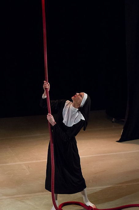 Bell ringing nun rope act by Katie Hardwick