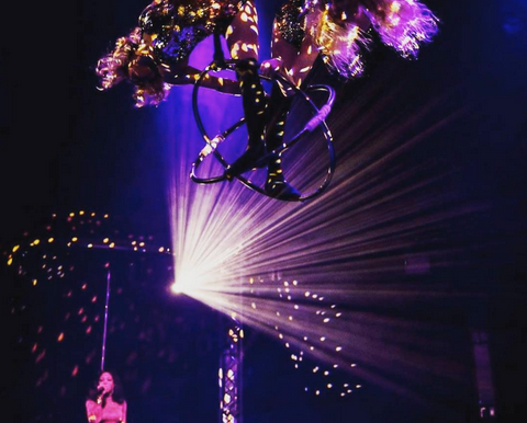 Human Mirror Ball Aerial Act