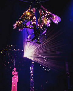 Starfiz Aerial Sphere Human Mirror Ball Act in Le Bouge Neon cabaret with singer Acantha Lang