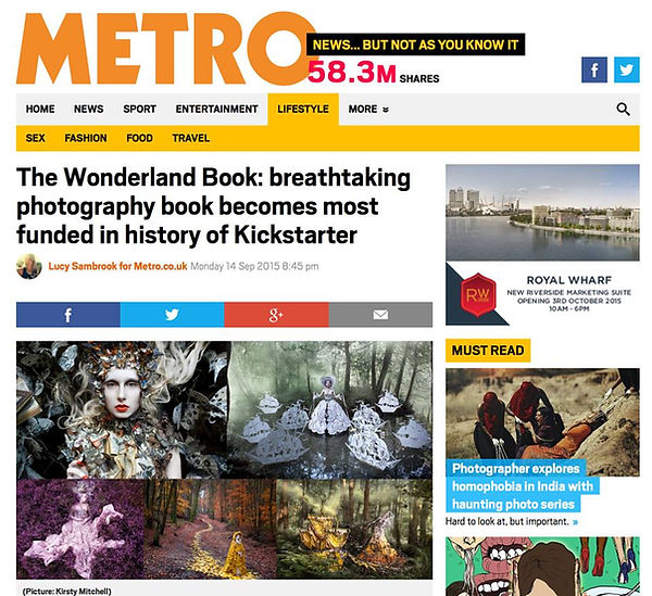 Wonderland Book Kickstarter by Kirsty Mitchell in Metro article