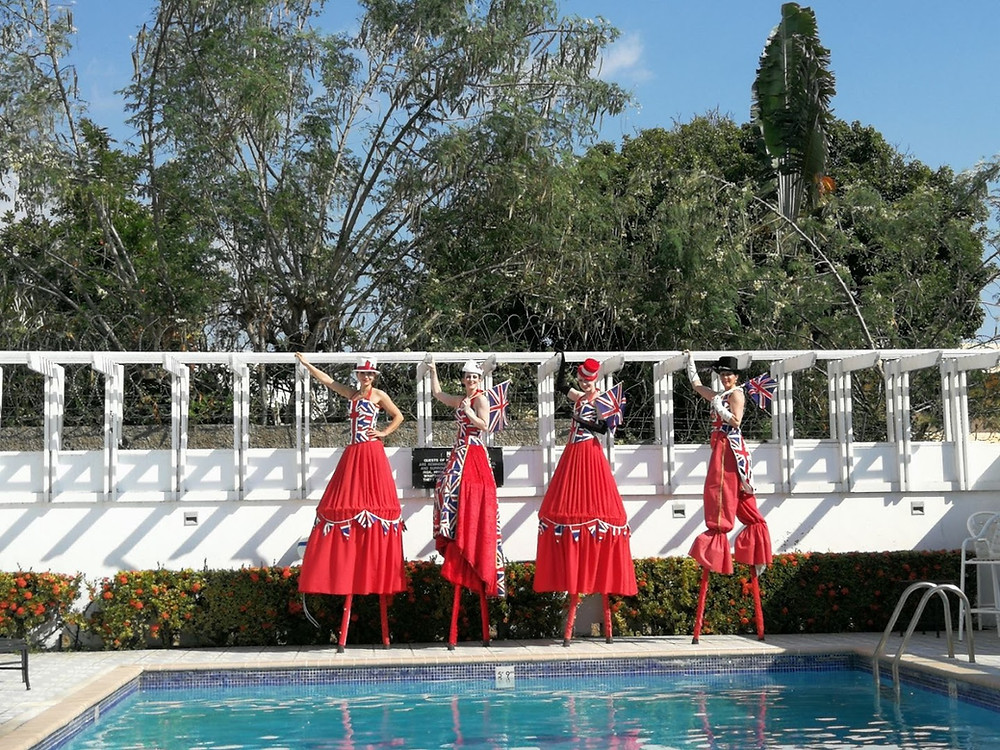 Union Jack stilt walkers at the British High Commission in Jamaica