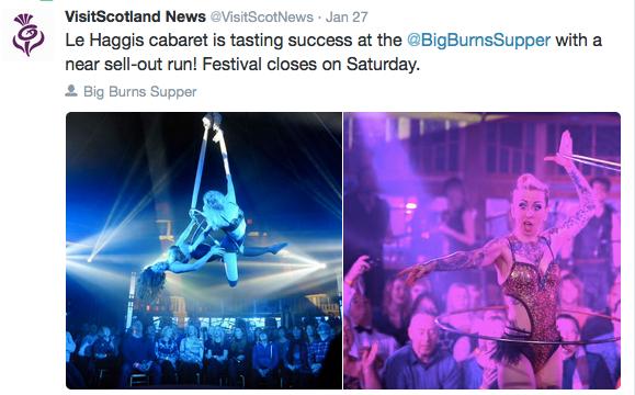 Le Haggis Visit Scotland News Tweet